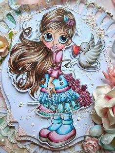 The list of Copics used for coloring this cutie is as follows: Skin: E13, E11, E00, E000, RV21 (for cheeks) Hair: E21, E23, E27, E29 Outf...