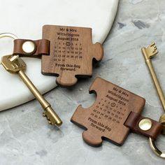 Personalised Wooden Wedding Keyring Set - last-minute gifts
