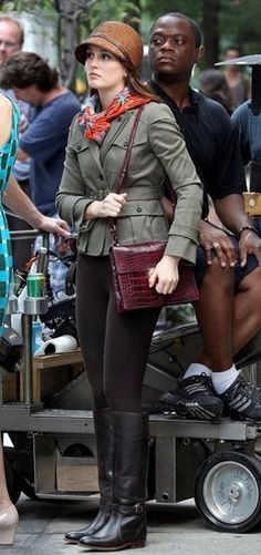 Blair Waldorf's equestrian style on the set of GG - love the hat !