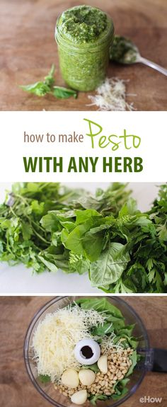 Pesto goes well with so many dishes, it's always good to have some on hand in the fridge or freezer! Here's how you can make fresh, all-natural ingredient pesto with your favorite herb, basil, cilantr (Kitchen Ingredients Olive Oils) Herb Recipes, Cooking Recipes, Healthy Recipes, Recipes With Fresh Herbs, Fresh Basil Recipes, Fast Recipes, Homemade Pesto Sauce, Canned Pesto Recipe, Bon Appetit
