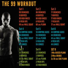The 99 Tribesports Workout. My word, I think this is meant to be done as one workout..... Its the burpees and wall squats that are killers!