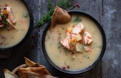 Finnish soup with salmon, potato and leek Cheeseburger Chowder, Soup, Favorite Recipes, Salmon Potato, Cooking, Kitchen, Soups, Brewing, Cuisine