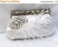 Bridal clutch, feather crystal evening bag, White clutch, wedding clutch, Vintage inspired clutch, Bridal evening bag by GlamDuchess on Etsy https://www.etsy.com/listing/102828103/bridal-clutch-feather-crystal-evening