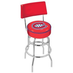 "Montreal Canadiens 25"" Chrome Double Ring Swivel Bar Stool with a Back - $154.00"