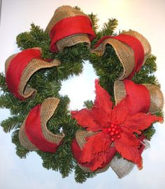 Christmas wreath with burlap poinsettia burlap by AllisonStrider
