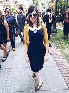 Mustard cardigan with navy blue Peter Pan collar dress