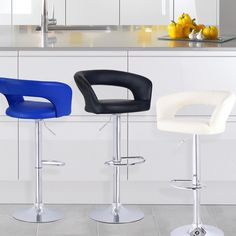 The leatherette material is easy to wipe clean of spills and is a classy addition to your dining room or living room. Available in black, blue or cream.