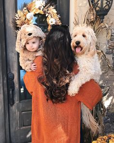 Ive got 2 blonde puppies now! Lol trying on Lukes costume and I dont think he loved its much as we loved seeing him in it! PS. This cardigan is . Details: http://liketk.it/2tdo0 #wiw #halloweencostume #goldendoodle #babycostume #fall #liketkit