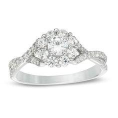 #Zales - #Zales 7/8 CT. T.w. Diamond Flower Frame Twist Engagement Ring in 14K White Gold - AdoreWe.com