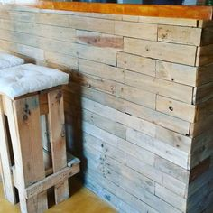 wooden bar stool - made of recycled pallet, reclaimed wood, palllet wall