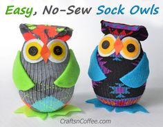 Fun! Make these easy Sock Owls from patterned socks, felt and Styrofoam eggs. CraftsnCoffee.com.
