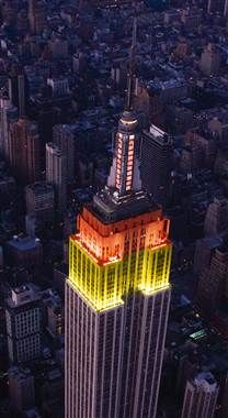 In New York tonight? The Empire State Building will be lit in TODAY's colors for our 60th anniversary: red, orange and yellow!