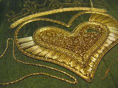 Goldwork Claddagh by What Katie Threads Next, via Flickr