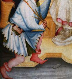 Details from the Grudziądz Polyptych by circle of Master of the Třeboň Altarpiece, ca. 1390, National Museum in Warsaw. © Marcin Latka #detail #grudziadzpolyptych #tebonaltarpiece #artinpl #nationalmuseuminwarsaw #wittingau #knight #medieval #dagger #barbute #helmet #14thcenturyfashion #medievalfashion Medieval Fashion, 14th Century, National Museum, Knight, Warsaw, Detail, Poland, Helmet, Painting