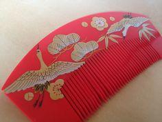 Amazing retro Japanese red resin hand-painted lucky crane motif bridal kushi kanzashi comb