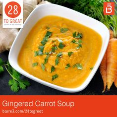 Gingered Carrot Soup - This simple, light soup is perfect for lunchtime! Be sure to use the full-fat coconut milk to get t - Creamy Carrot Soup, Carrot Ginger Soup, Soup Recipes, Whole Food Recipes, Great Recipes, Vegan Recipes, Dinner Recipes, Ginger Soup Recipe, Curried Butternut Squash Soup