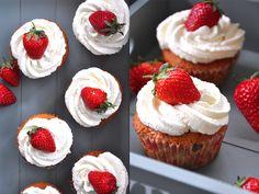 Krümelkreationen: Erdbeerkuchen-Cupcakes mit Erdbeerfüllung