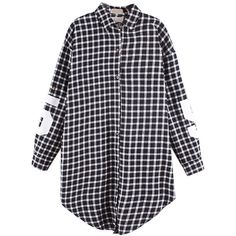 Choies Black Plaid Oversize Shirt With 81 And Letter Print (27 CAD) ❤ liked on Polyvore featuring tops, shirts, dresses, blouses, black, shirt top, tartan plaid shirt, letter shirts, tartan shirt and oversized tops