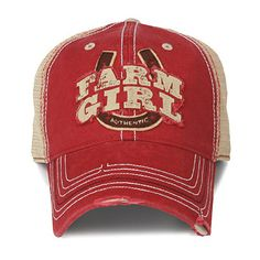 - Farm Girl Horseshoe Cap - Embroidered Patch On Front - Mesh Back - Adjustable Strap - Distressed Brim For A Worn Look
