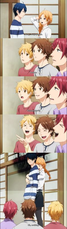 Your friends's reaction after hearing your girlfriend's cute nickname for you. And you were like... >.<  Nijiro Days/Rainbow Days Episode 3