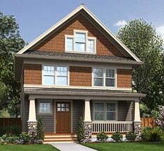 Only 28' wide, this compact Craftsman home plan would fit well on a narrow lot with charm and style.  A built-in seat in the foyer makes a great resting spot or a place to pull off your shoes.  More built-ins can be found in the home office.  Despite its narrow size, the open floor plan makes the living area seem huge.  All the bedrooms are on the second floor along with two baths.  Third story expansion is possible if you need more eroom to grow.