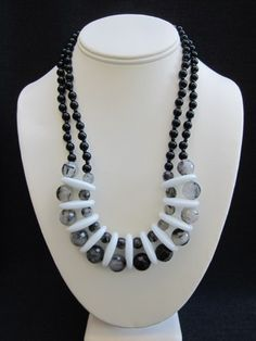 """LILLITH    ~ 1"""" White Agate Links  ~ 11mm and 7mm Tourmalinated Quartz Rounds  ~ 6mm Black Jade Rounds    22 1/2"""" Round  Brass Toggle Closure    $248.00"""