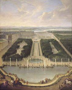 Vue du château de Versailles depuis le Bassin du Dragon et de Neptune