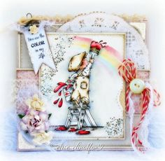 """Paper Love Affair -- lili of the valley stamp """"A lick of paint"""" coloured with distress inks"""