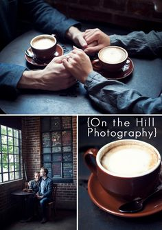 Coffee shop engagement pictures. At Stella's perhaps?
