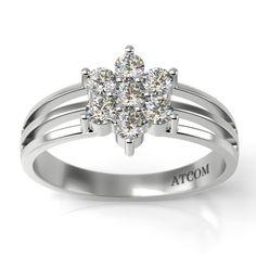 Modelul inelului de logodna Atcom Alexei este confectionat din aur alb de 14K si se remarca prin design-ul floral format din diamante dispuse in chip de petale si corola. Aur, Engagement Rings, Floral, Jewelry, Design, Enagement Rings, Bijoux, Flowers, Engagement Ring