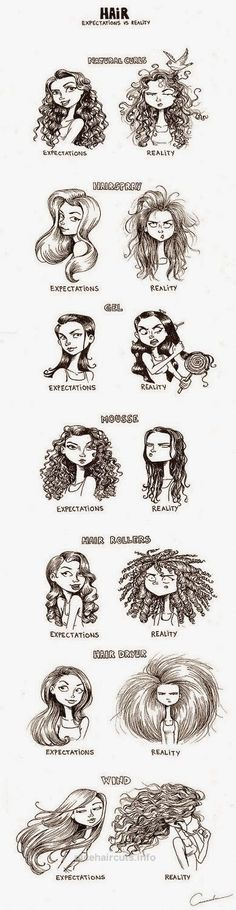 7 Hair Expectations Vs Reality Scenarios… lol this made me laugh, cuz its so true! Curly Hair Styles, Natural Hair Styles, Natural Curls, Natural Skin, Curly Hair Problems, Expectation Vs Reality, Complicated Relationship, Corte Y Color, Real Facts