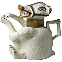 English Prattware Pottery Bear Shaped Teapot, circa 1790-1800 1