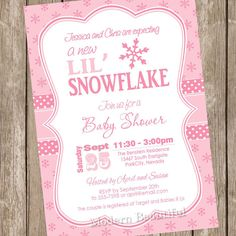 Little Snowflake Baby Shower Invitation, Winter Baby Shower Invitation,  Holiday Baby Shower Invitation, Snowflakes, Pink, Printable