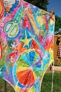 Kid-made batik aprons - using glue!