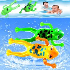 Bathroom Tub Frog Bathing Toy Clockwork Wind UP Plastic Bath Pool for Baby Kid