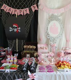 Once Upon a Time and a Yo Ho Ho! Princess and Pirate Birthday Party: great ideas for party food, decorations, and more! Combined Birthday Parties, Sibling Birthday Parties, Joint Birthday Parties, Princess Birthday Party Decorations, Princess Party, Birthday Party Themes, Birthday Ideas, Princess Sophia, Pirate Birthday