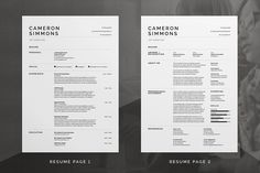 Pro Resume/CV - Cover letter - Portfolio - Templates - Fully Customizable - Word - Photoshop - inDesign Cameron by bilmaw creative on Cv Cover Letter, Cover Letter Template, Cv Template, Resume Templates, Letter Templates, Cv Design, Resume Design, Page Design, Design Layouts