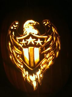 USA Pride Eagle pumpkin carved by Marshiekins Pumpkin Carving, pattern by Stoneykins.com