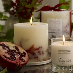 Pomegranate Botanical Candle   The White Company. Shopping from the US? -> http://us.thewhitecompany.com/Candles-and-Fragrance/Candles/Pomegranate-Botanical-Candle/p/PMDBM?refCode=PMDBM