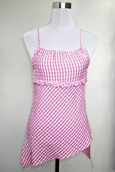 pink checkered sleeveless top USD22 FREE SHIPPING