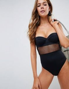 6c60987e2cd7a ASOS DESIGN recycled fishnet insert underwired cupped swimsuit in black  Swimsuits