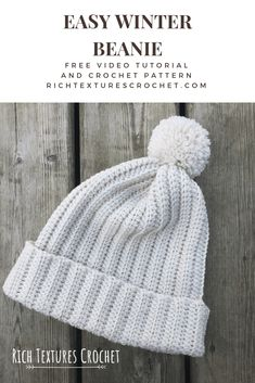 Learn how to crochet the super easy ribbed winter beanie with this free crochet pattern and video! Easy Crochet Hat, Crochet Winter Hats, Easy Crochet Patterns, Crochet Stitches, Knit Crochet, Crochet Mittens, Beanie Pattern Free, Crochet Beanie Pattern, Free Pattern