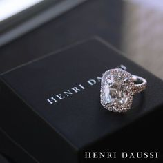 The little black box is always in style  #henridaussi #engaged #diamonds #glam - Henri Daussi Engagement Ring and Wedding Band