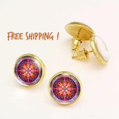 Neon Colorful Kaleidoscope Earrings. Summer Earrings. Beach Studs. Glass Dome, Nickel Free Stud Earring, Silver Stud Earrings KSZ03R05K03S