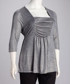 Take a look at this Halo Gray & Gold Ruched Plus-Size Top by Halo on #zulily today!