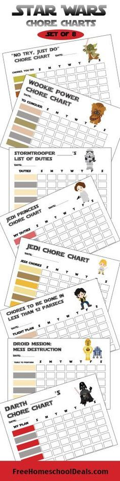 Printable Star Wars chore charts | Use the force to clean your room... Printable chore chart for kids with an easy checklist and familiar characters - Darth Vader, Yoda, etc.