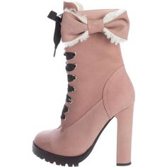 Pre-owned Red Valentino Shearling Bow Ankle Boots ($175) ❤ liked on Polyvore featuring shoes, boots, ankle booties, pink, laced ankle boots, shearling ankle boots, lace up ankle booties, short boots and ankle boots