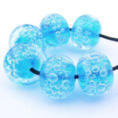beautiful aqua beads with baking soda bubbles!