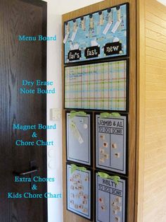 Love this menu planner, chore chart, and dry erase board as a kitchen command center