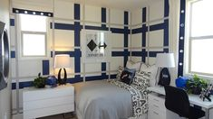 Symmetrical Plaid Pattern Accent Paint at The District by Shea Homes - Pin Store Pod Chair, Kb Homes, Geometric Wall, Wall Patterns, Cool Walls, Model Homes, New Room, Paint Designs, Plaid Pattern